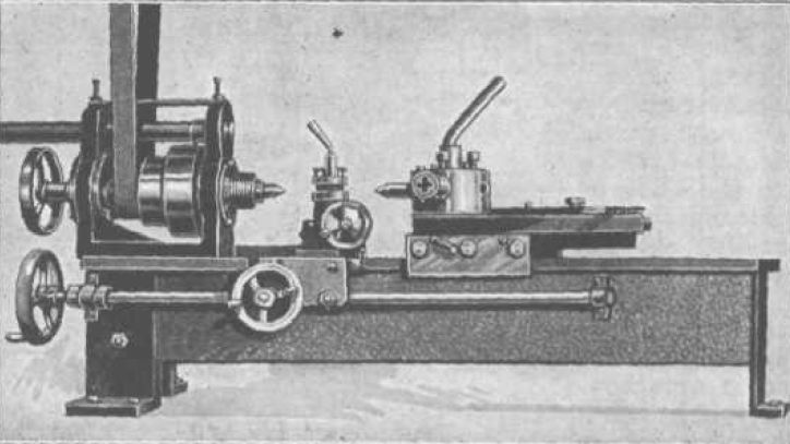 "Six-Inch Turret Lathe by J.V. Romig -- Homemade 6"" turret lathe described as a Popular Mechanics project. Includes detailed plans and drawings. Spindle rides on double and single-row ball bearings. Carriage, cross slide, turret, and apron are machined from cold-rolled steel. http://www.homemadetools.net/homemade-six-inch-turret-lathe"