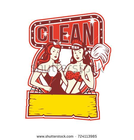 "Retro 1950s style illustration of Twin female Cleaners with feather duster and mop with words text ""Clean"" on isolated background.  #cleaners #retro #illustration"