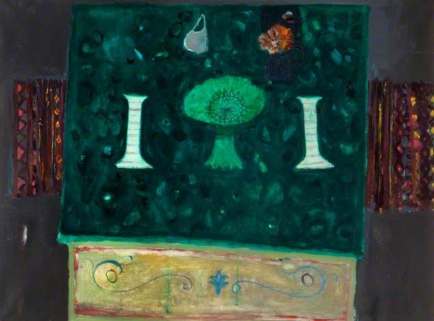 Candlesticks on Green Table Elizabeth Blackadder