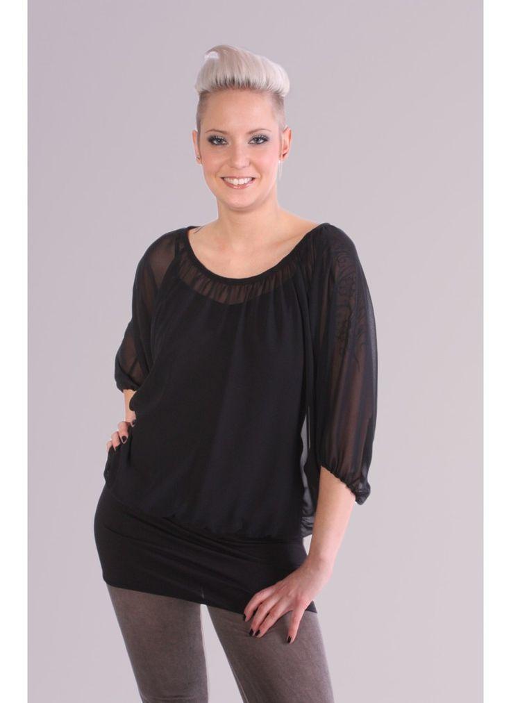 Schwarzes Chiffon Shirt (2 teilig) von blue halo. Feminine, festliche Mode handgenähnt, auch nach Maß, vom Modelabel direkt online kaufen.