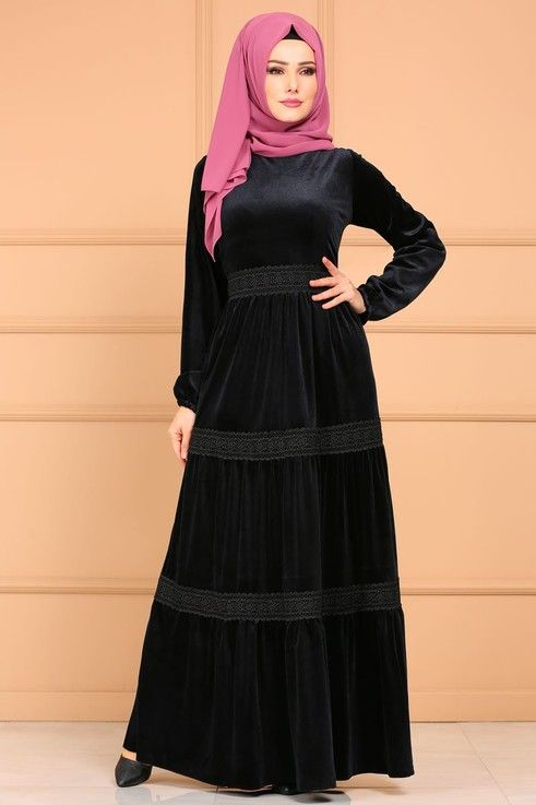 929f67cf1ca1b Modaselvim ELBİSE Güpürlü Kadife Elbise OZV3035 Siyah | Giyim in ...