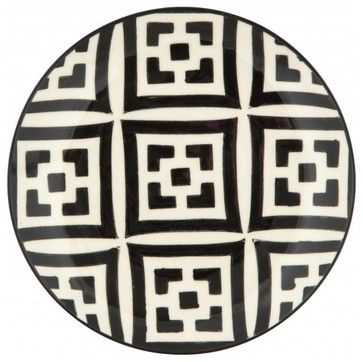 Moroccan Dessert Plate, Black and White mediterranean dinnerware