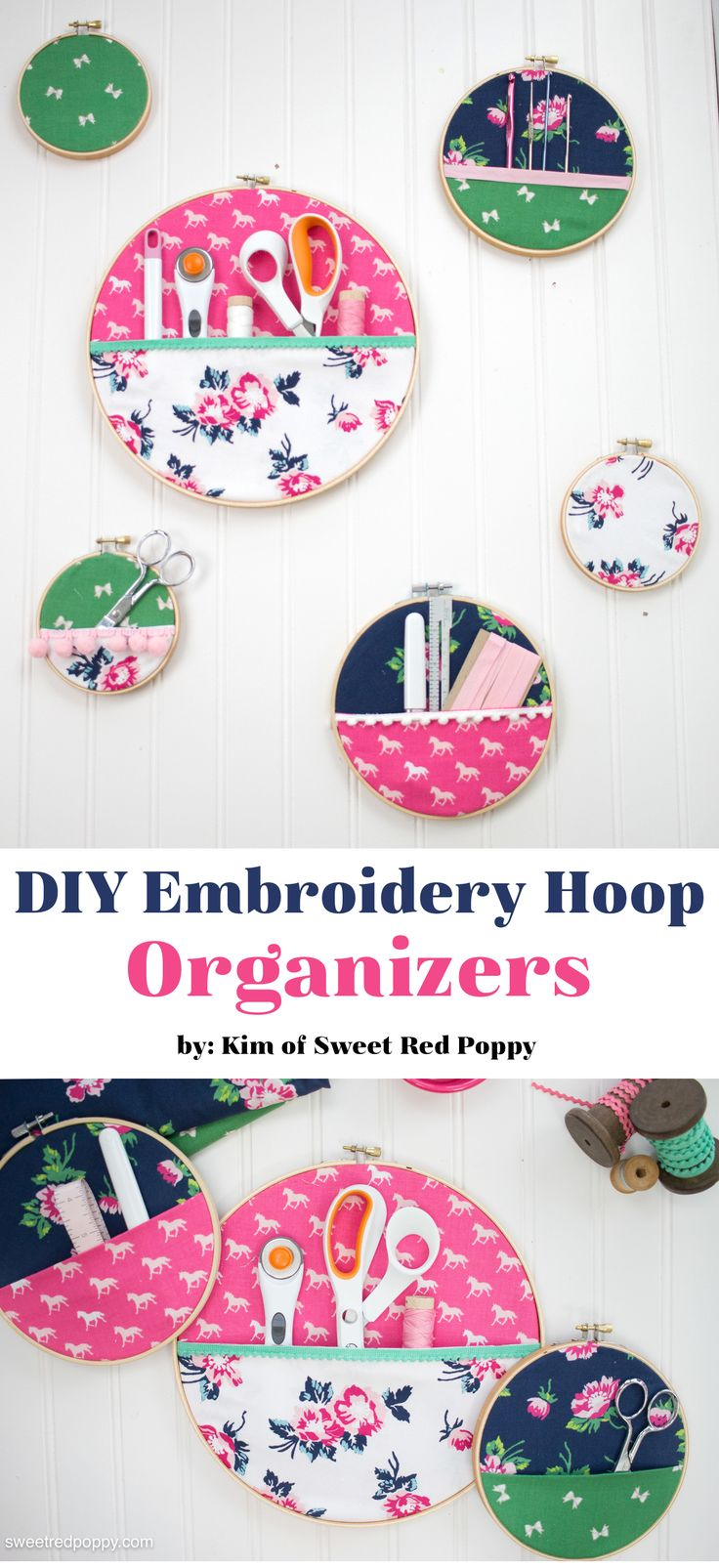DIY Embroidery Hoop Hanging Wall Organizer - a great idea for Sewing Room organization and storage and a clever DIY organization project!