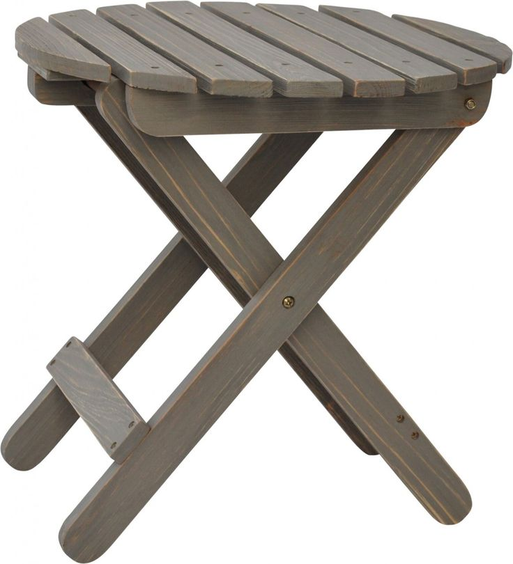 Shine Co Outdoor Round Adirondack Folding Side Table In Vintage Gray