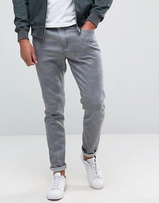Hoxton Denim | Облегающие серые джинсы с камуфляжным узором Hoxton Denim