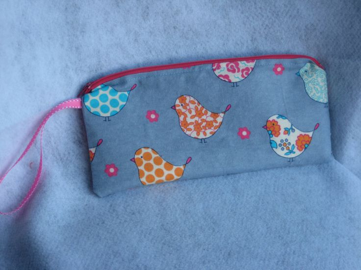 Very Tweet Birdie Fabric Zip Clutch, coin purse, cosmetic bag, zipper top, purse storage, OOAK and ready to ship! by Whimsybags on Etsy