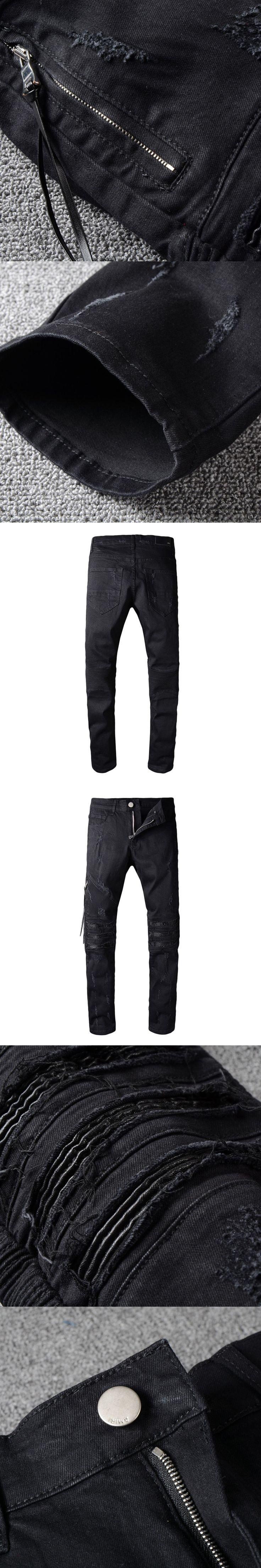 Hi-Q Hot Sale Biker Jeans Men Casual Black Denim Straight Design Pants Brand Clothing Jeans homme