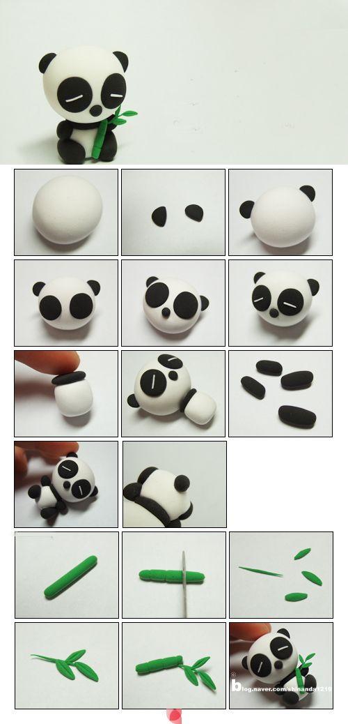 Tutorial para relizar oso panda en arcilla polimérica / polymer clay / DIY