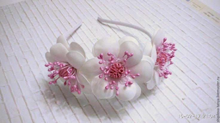 Купить ободок с цветами - комбинированный, белый, розовый, ободок для волос, ободок с цветами, ободок для невесты
