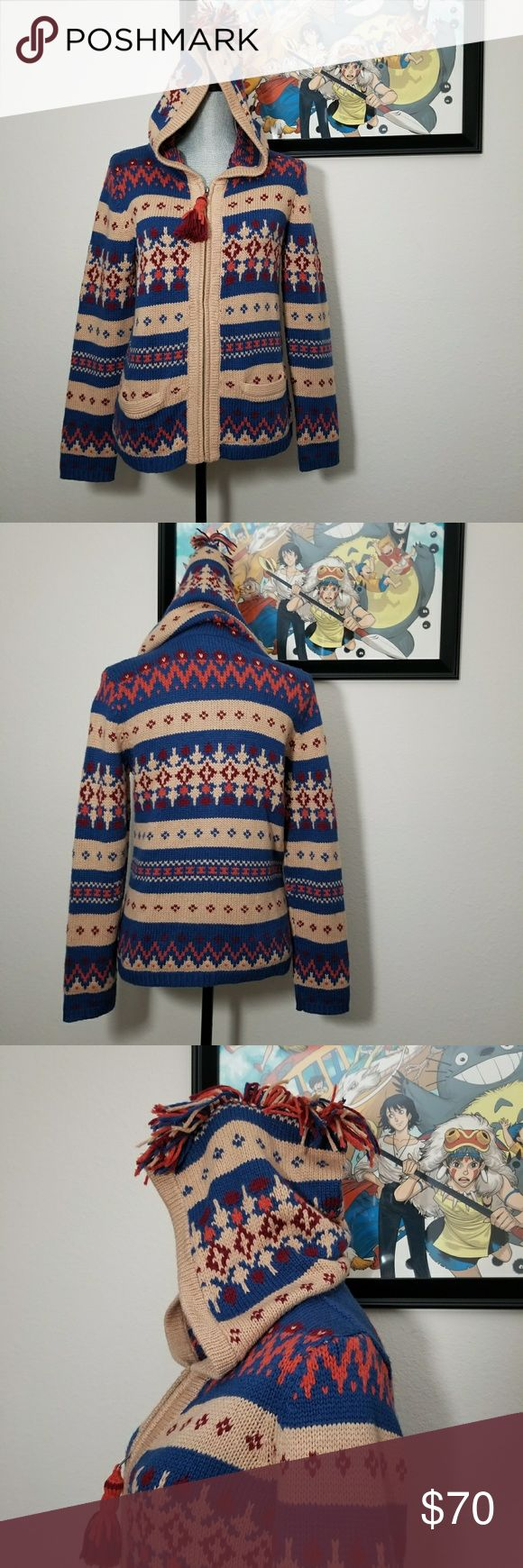 """Anthro Sparrow fairisle hooded sweater Large Large hooded zip up sweater in fairisle print. Full zip with tassel charm. Hood has mohawk fringe. 2 small front pockets. Incredibly soft and warm. Excellent used condition. Flat lay measurements: Approximately 20"""" bust, 15"""" from underarm to hem. Anthropologie Sweaters"""