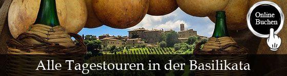 Tagestouren in der Region Basilikata, Besichtigung mit Reiseführer, Kochkurse, Weinproben, Wanderungen, Fahrradtouren und Transfers http://www.italien-inseln.de/italia/basilikata-basilicata/tagestour.html