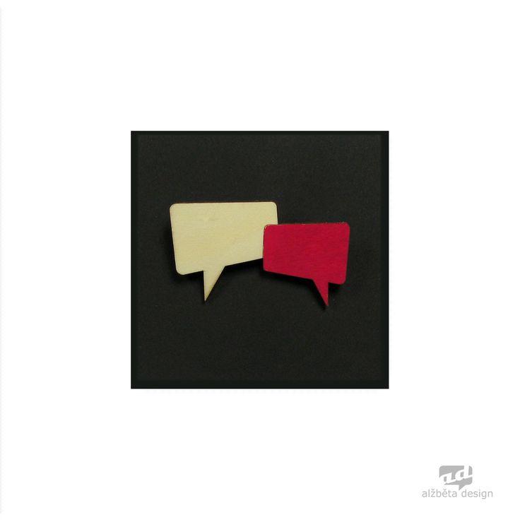Talk bubbles - plywood brooch