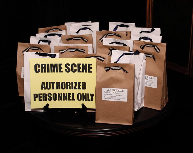 """Murder mystery themed dinner party - gift bags were decorated as """"Evidence"""" bags and contained a murder mystery. The tag lists """"Operating under the influence of a good book"""" as the offense committed."""