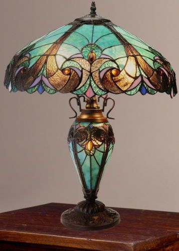 Tiffany-Style-Halston-Double-Lit-Stained-Glass-Table-Lamp-Turquoise-NEW