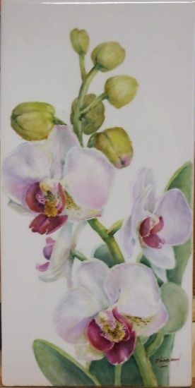"Orchids by Joanna Burch porcelain ~ 12"" x 6"""