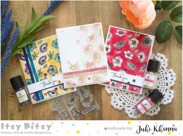 Watercolor cards with Say it Flowers stampset and Fairy Dust Glitter
