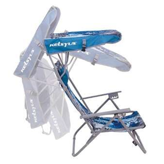 Kelsyus Beach Canopy Chair. A low profile sling chair with adjustable recline positions. Adjustable canopy. Built-in backpack straps and folds flat for easy portability.
