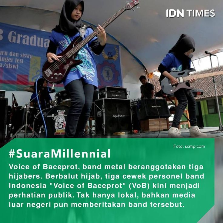 """Berbalut hijab, tiga cewek personel band Indonesia """"#VoiceofBaceprot"""" (VoB) kini menjadi perhatian publik. Tak hanya lokal, sejumlah media besar di luar negeri bahkan sudah banyak yang memberitakan band tersebut. . Mereka terdiri dari tiga orang gadis berhijab yaitu Firdda Kurnia, Widi Rahmawati dan Euis Siti Aisyah. Band ini terbentuk dengan dukungan dari mantan guru mereka, Cep Ersa Eka Susila Satia. Band metal ini terbentuk ketika mereka masih duduk di bangku Madrasah Tsanawiyah atau…"""