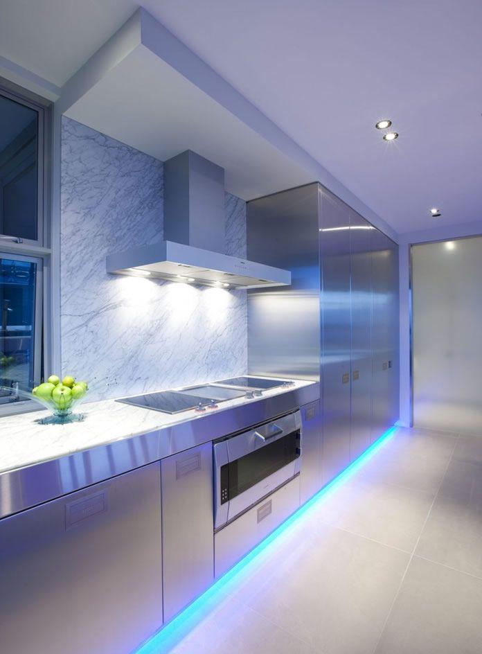 modern kitchen lighting using lumilum blue strip lights