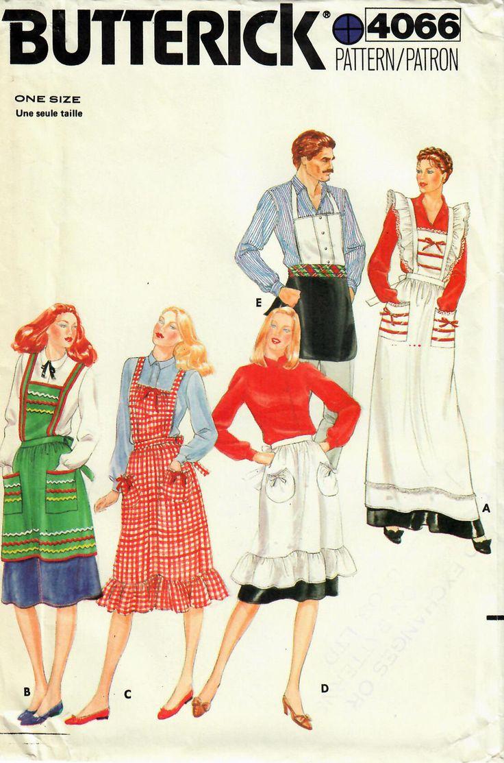 1980s Butterick 4066 UNCUT Vintage Sewing Pattern Misses Half Apron, Full Apron, Hostess Apron, Long Apron, Work Apron, Men's Apron One Size by midvalecottage on Etsy