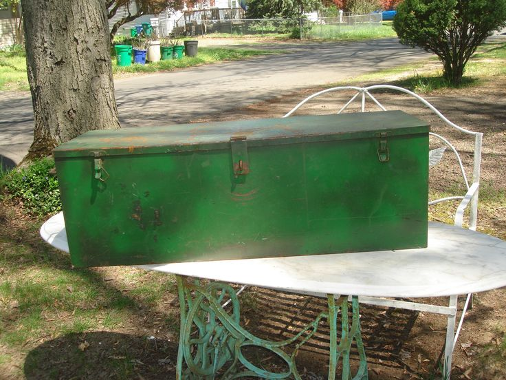 antique metal tool chest /  large intustrialsize tool box / green metal tool box with removable tray by StinkyTinkysTreasure on Etsy