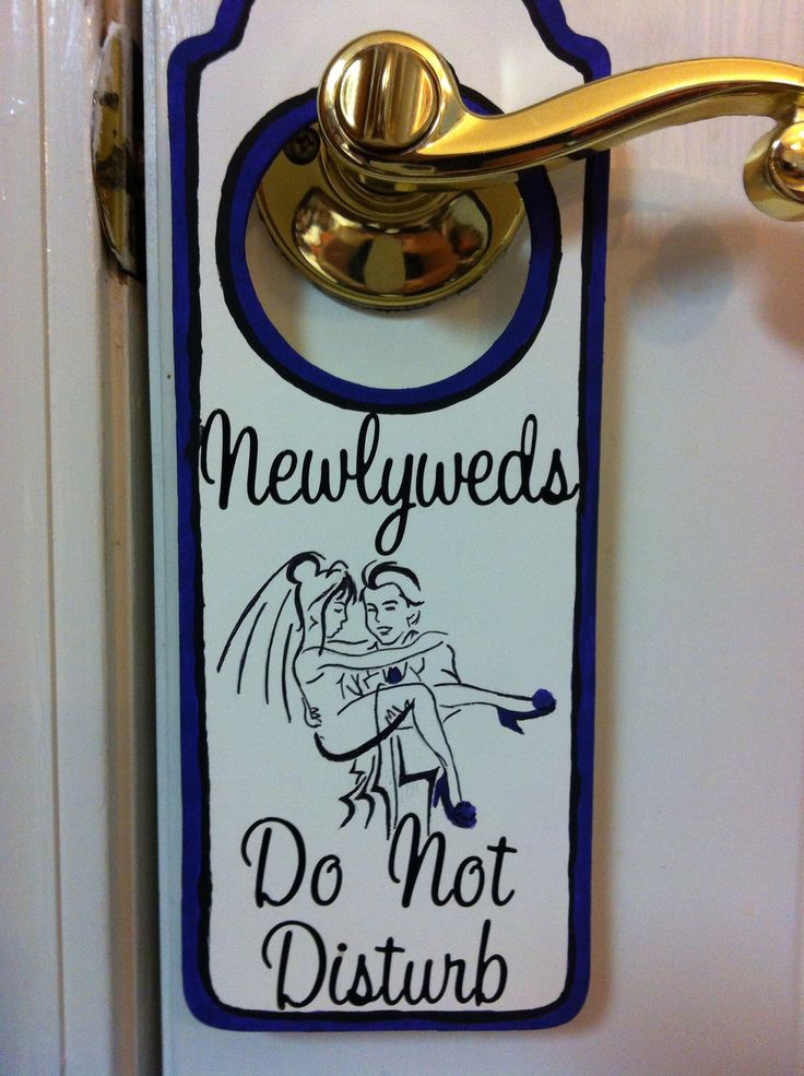 "Newlywed ""Do Not Disturb"" sign.  I made this for my friend's honeymoon and included it in a survival kit that I made for her.   I bought a plain door hanger from a craft store and painted the front and back with white acrylic paint. I used purple and black paint for the trim and the design, but the words were done with scrapbooking stickers. The bride and groom design was copied from clip art that I found online. I used purple for the groom's tie and added purple shoes to look like the ones…"