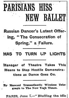 How the New York Times reported the controversial 1913 premiere of Nijinsky's 'The Rite of Spring' (here called 'The Consecration of Spring'), nine days after the event