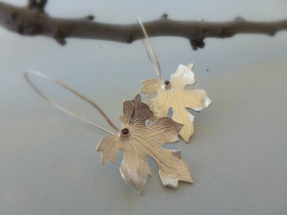 Vine Leaf, Sterling Silver Handmade Earrings, Fall colors at the end of the Summer, art design earrings, woodland