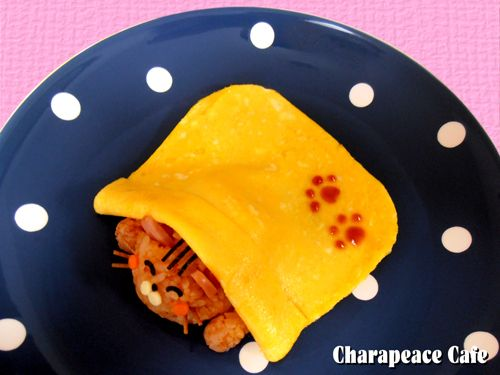 napping cat omelet rice