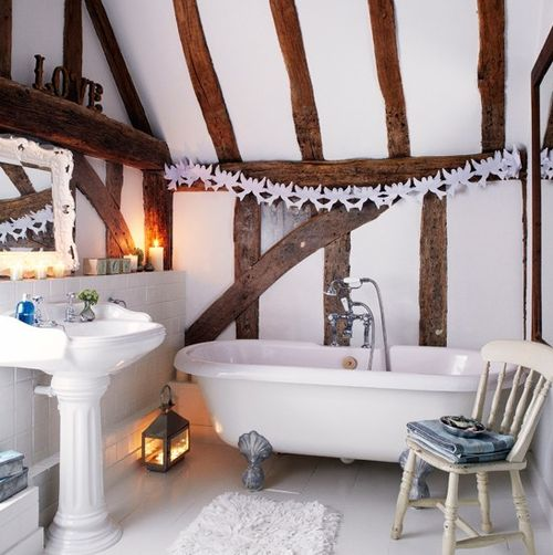 Modern Country Attic Bathroom