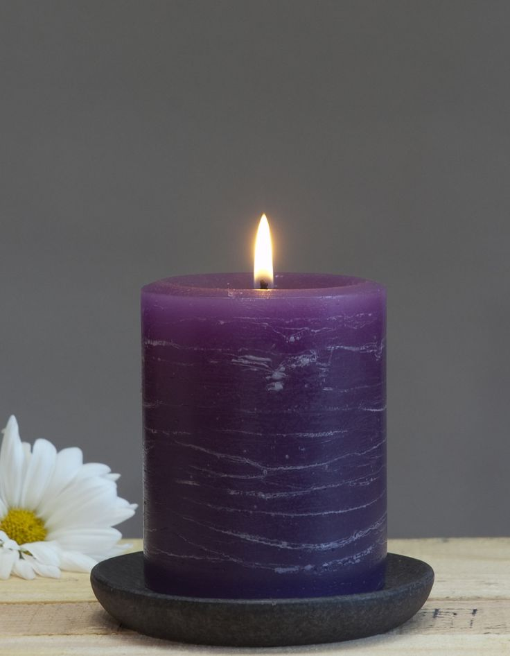 The rustic pillar candle has become the go to in pillars. Unscented candles are ideal for the dinner table or special events. The purple is a nice pop of color for spring. The candle will burn from th