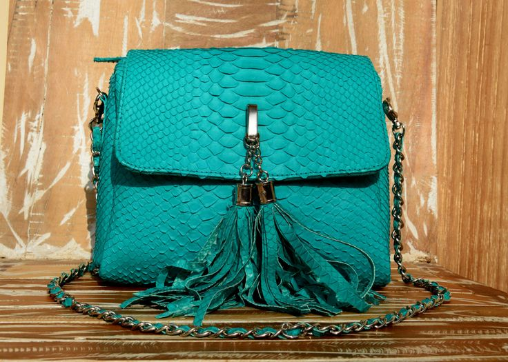 natural python leather bag, sky blue by OkeanaAccessories