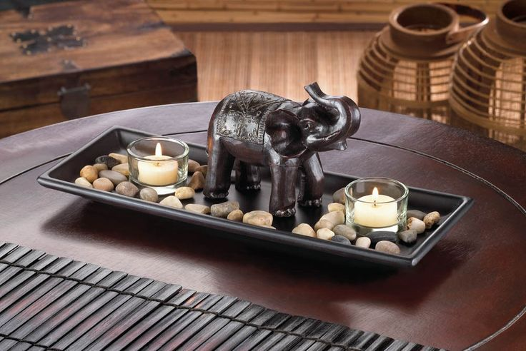 Brown Elephant Candleholder Decorative Tray Dish Set African Jungle Safari Decor