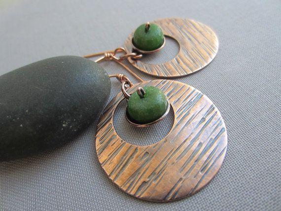 Pendientes de cobre grandes / texturizado pendientes por mese9