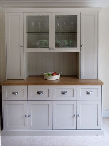 Free standing Kitchen Dresser funiture with solid oak work surface, finished in spray panted matched colour.