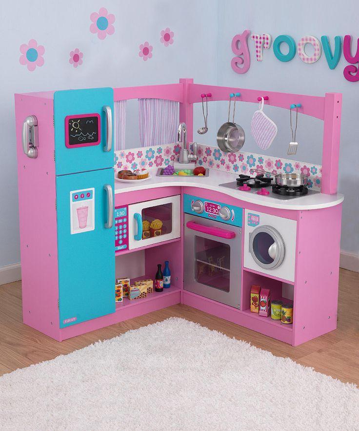 KidKraft My Groovy Gourmet Corner Kitchen 60 Piece Foods Play Set