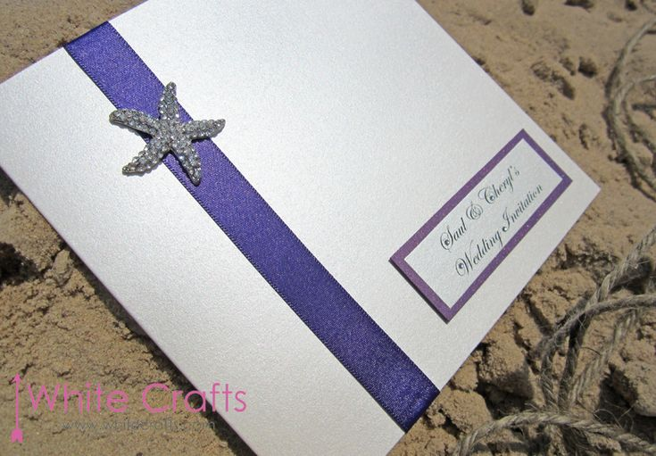 Nautical beach starfish mermaid wedding invitation Invitations   White Crafts www.whitecrafts.com #BeachThemedWedding #BeachWedding #NauticalWedding #MermaidWedding #BeachBride #Starfish