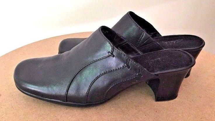 Clarks Black Leather Mules Clogs 7.5 M #Clarks #MulesClogs