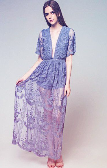 Get swept off your feet in this boho-gypsy maxi dress by Honey Punch. In stunning sheer dusty blue lace, this maxi dress has a plunging neckline and short sleeves.  - 1