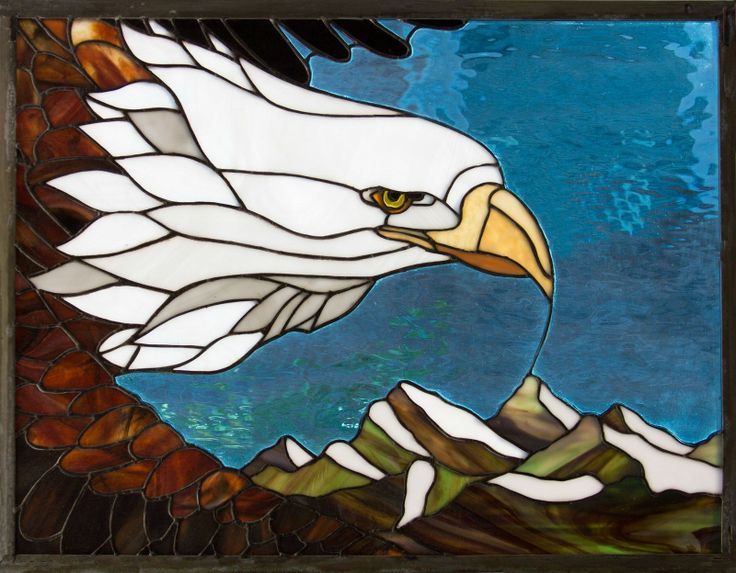 Eagle eyes original design stained glass window panel for Eagle windows
