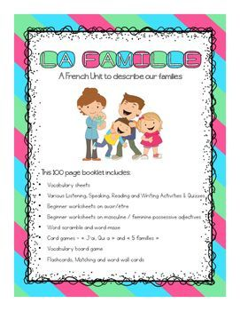 This 100 page booklet includes: Vocabulary sheets Various Listening, Speaking, Reading and Writing Activities & Quizzes (to go along with all four strands of the Ontario French Curriculum) Beginner worksheets on avoir/tre Beginner worksheets on masculine / feminine possessive adjectives Word scramble and word maze Card games   Jai, Qui a  and  5 familles  with instructions.