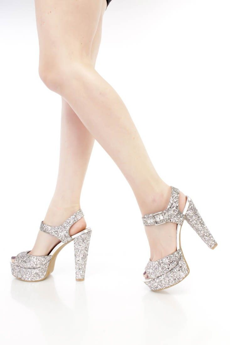 Silver Platform Chunky Heels