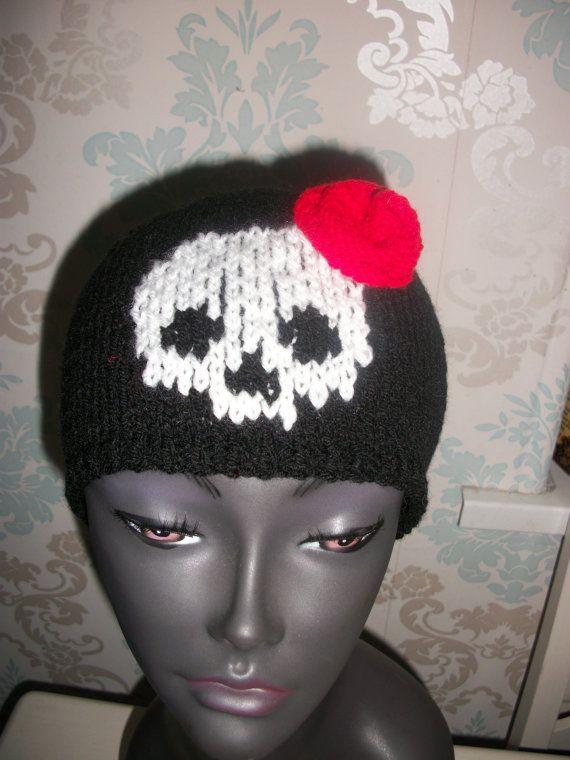 Skull Hat with Rose Rockabilly beanie Hat by thekittensmittensuk, $22.00