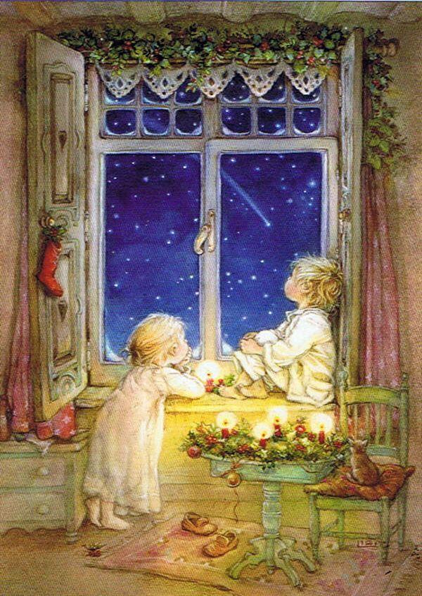 Школе, окна на открытках
