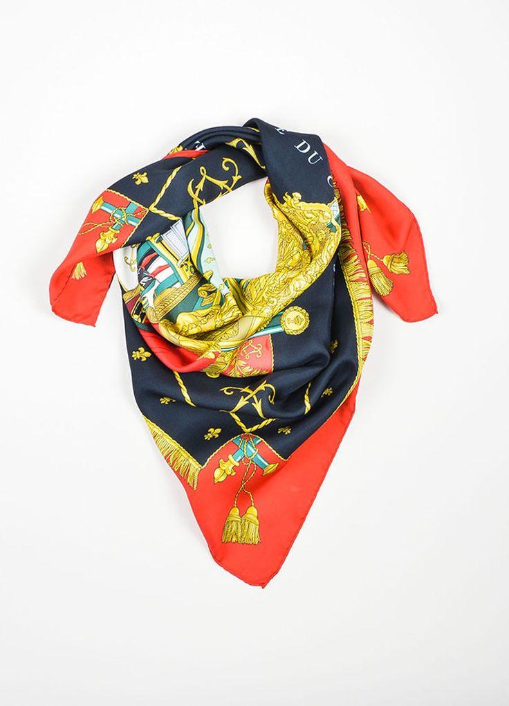 "Multicolor Hermes Silk ""Vue Du Carosse De La Galere La Reale"" 90cm Scarf"