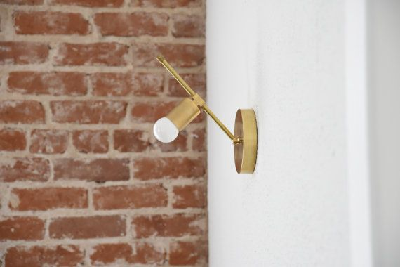 Free Shipping! Wall Sconce Gold Brass Modern Abstract Mid Century Industrial Art Light Bathroom Angled 45 UL Listed