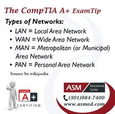 CompTIA A+Training / Tip - Types of Networks. For more information to get certified for CompTIA A+ Please visit: http://www.asmed.com/comptia-a/