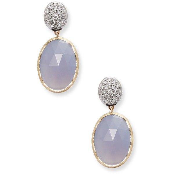 Marco Bicego Women's 18K Yellow Gold and 0.29 TCW Diamond Earrings -... ($1,095) ❤ liked on Polyvore featuring jewelry, earrings, purple, long gold earrings, gold post earrings, gold earrings, long diamond earrings and diamond post earrings