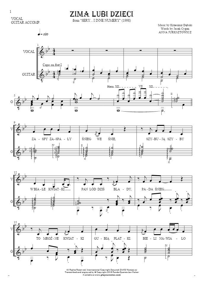 Zima lubi dzieci sheet music by Anna Jurksztowicz. From album Sery... i inne numery (1998). Part: Notes and lyrics for vocal with guitar accompaniment.