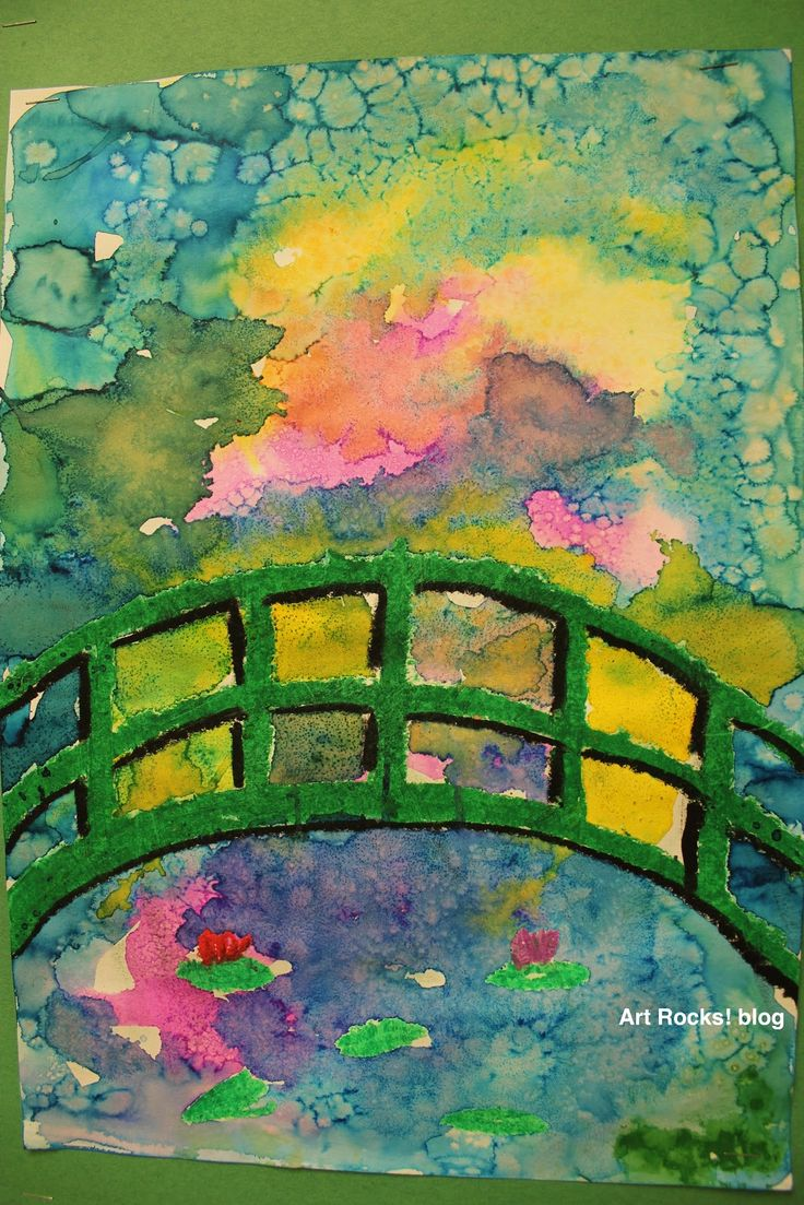 Art Rocks!: Grade 1: Monet Bridge--Oil pastel down first, watercolor to fill up the background. Sprinkle salt on top. Rub salt away once the paint has dried.